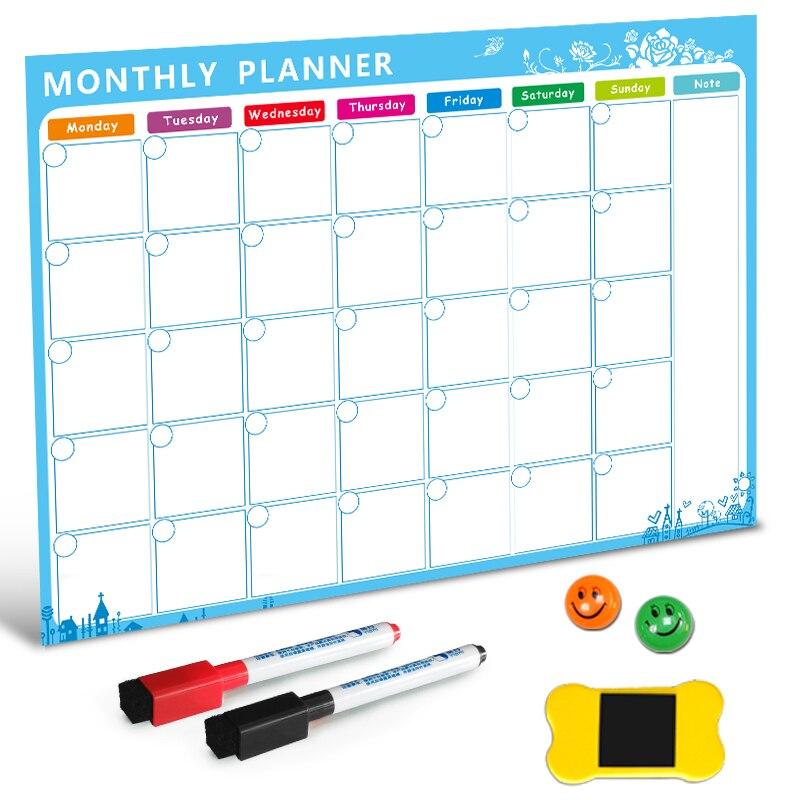 Imán de tablero de borrado en seco pizarra magnética refrigerador lista de cosas por hacer planificador diario mensual 2019 organizador para Cocina