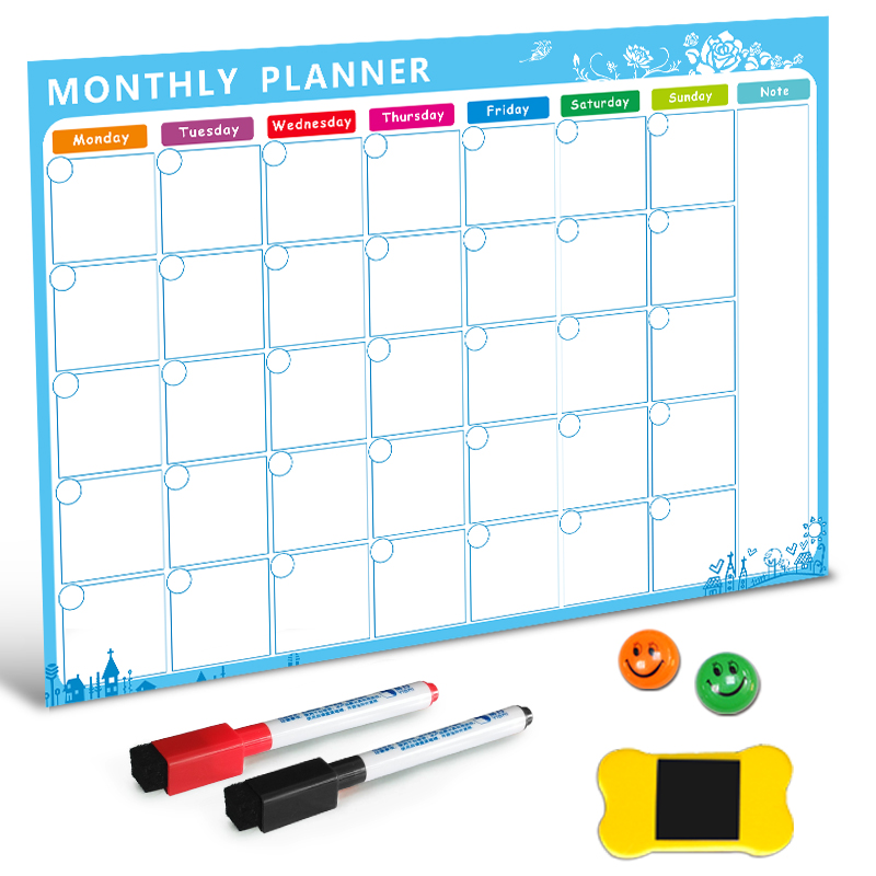Magnetic Whiteboard Dry Erase Board Magnets Fridge Refrigerator To-Do List Monthly Daily Planner Organizer for Kitchen