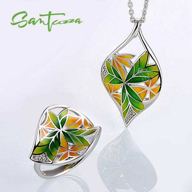 Conjuntos de jóias para As Mulheres Transparência HANDMADE Conjunto de Jóias Anéis de Esmalte Flor Pingente Set Jóias Partido Moda Jóias