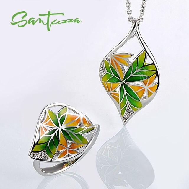 Jewelry Sets for Women Transparency HANDMADE Enamel Flower Jewelry Set Rings Pendant Jewelry Set Party Fashion Jewelry