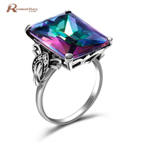 Hot Retro Vintage Charm Multicolor Rainbow Topaz Ring Love Wedding Rings For Women 925 Sterling Silver