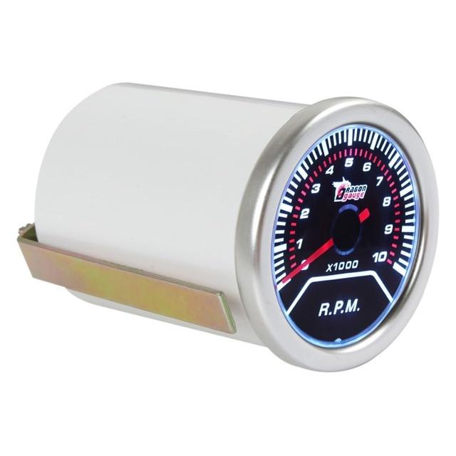 "Горячая 2 ""52 мм 0 ~ 10000 ОБ./МИН. Автомобилей Автомобиля Белый СВЕТОДИОД Универсальный Тахометр Тахометр Датчик Метр RPM"