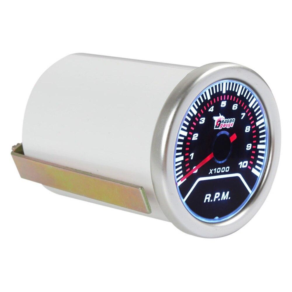Led Car Gauges : Dragon gauge quot mm rpm car vehicle white led