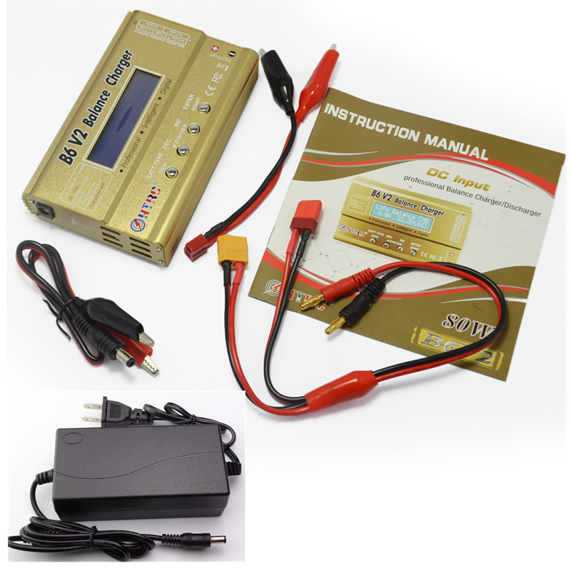 HTRC Imax B6 V2 80 w 6A RC Solde Chargeur Pour LiIon/Vie/NiCd/NiMH/Haute puissance Batterie LiHV imax b6 chargeur + 15 v 6A AC Adaptateur