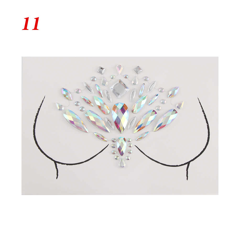2018 1 Lembar Adhesive Baru Bohemia Crystal Tato Sticker Perhiasan Wajah Leher Leher Permata Pesta Pernikahan Tubuh Payudara Perhiasan