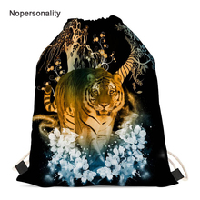 Nopersonality Black Women's Drawstring Bag Cool 3d Jungle Tiger Print School Bagpack for Kids Portable Storage Travel Backpack