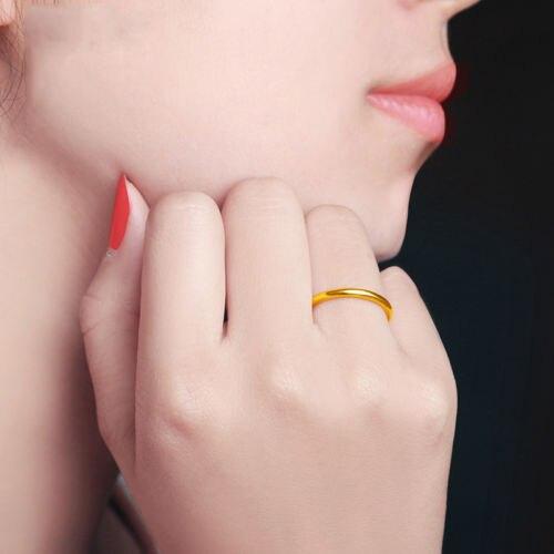 Véritable pur 24K or jaune lisse-forme anneau taille 6-9 - 5