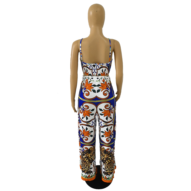 Floral Print Vintage Two Piece Tracksuit Women Spaghetti Strap Backless Crop Top And Wide Leg Pant Summer Club Outfit Sweatsuit