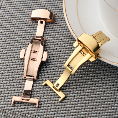 Stainless Steel Solid Double Push Button Fold Watch Buckle Butterfly Deployment Clasp Watch Strap Relojes Hombre 18mm 20mm 22mm in Watchbands from Watches