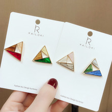 2019 Simple Design Acrylic Glaze Color Hollow Square Triangle Acetate Earrings for Women Girl Party Jewelry