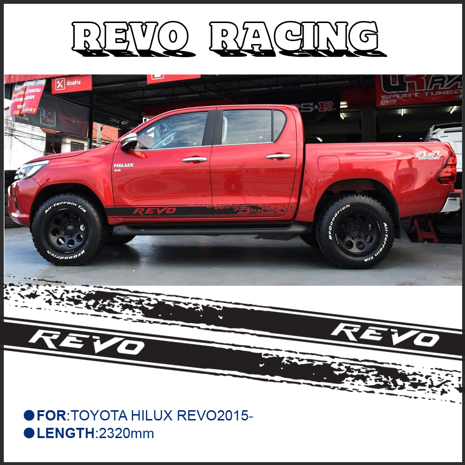 2pc free shipping hilux revo racing side stripe graphic Vinyl sticker for TOYOTA HILUX decals 2 pc hilux hilux chequered racing side stripe graphic vinyl sticker for toyota hilux decals