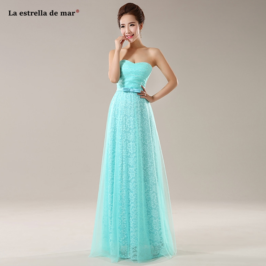Robe demoiselle d'honneur best selling lace StraplessA Line Royal blue turquoise mint green pink   bridesmaid     dresses   under $ 50