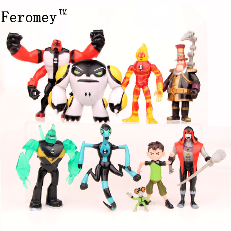 Ben 10 Ben Tennyson Four Arms Grey Matter Kineceleran Diamondhead Heatblast PVC Action Figures Kids Toys Gifts