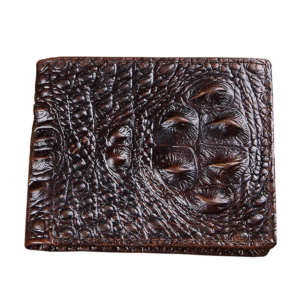 Vera pelle di coccodrillo portafoglio uomo casual pelle di coccodrillo  portafoglio maschile borsa vintage di alta qualità per gli uomini del  progettista ... f396f368c79