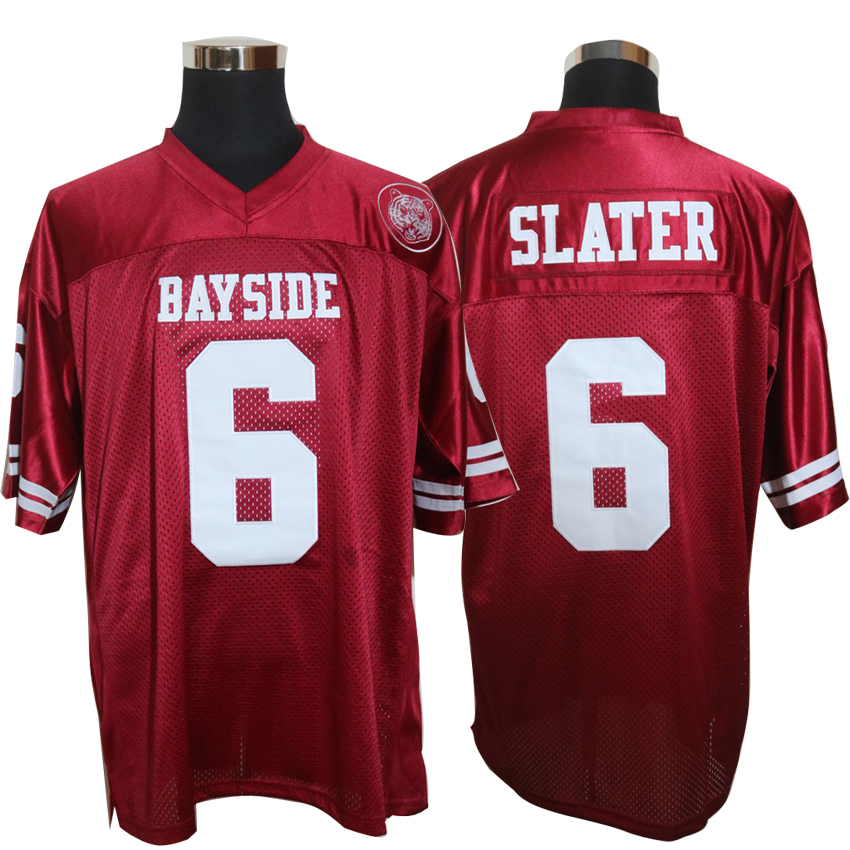Cheap American Football Jerseys AC Slater 6 Bayside Tigers High School Throwback jerseys Retro Red Stitched Shirt for MensCheap American Football Jerseys AC Slater 6 Bayside Tigers High School Throwback jerseys Retro Red Stitched Shirt for Mens