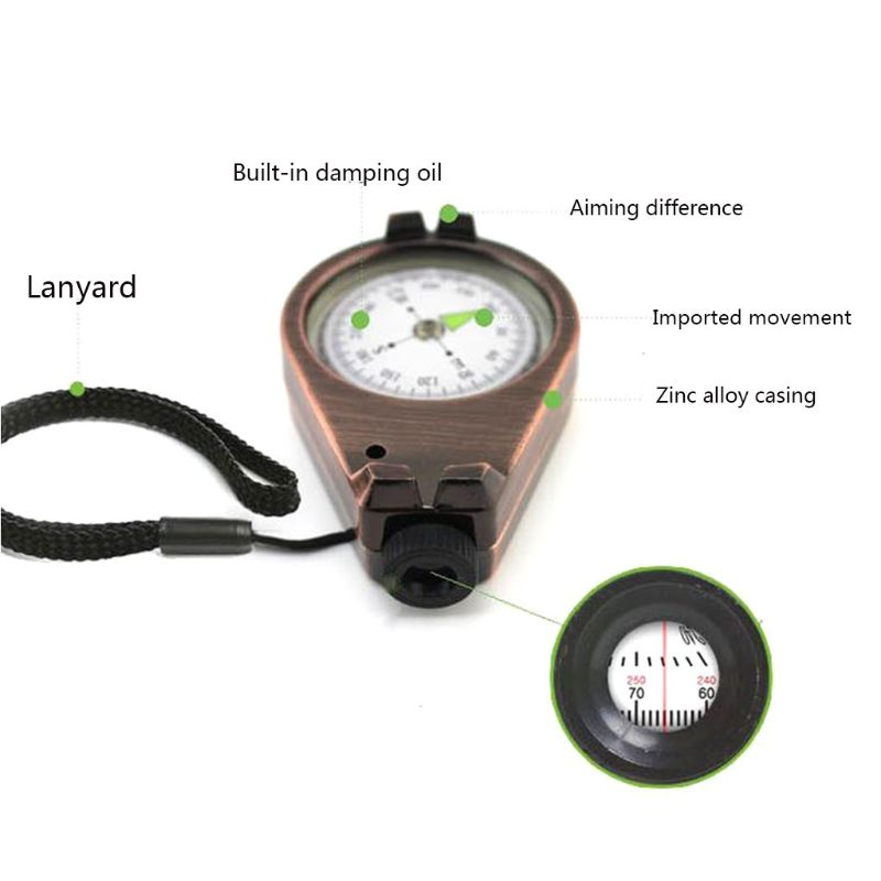 Image 4 - Sturdy Zinc Alloy Compass With Lanyard Waterproof Pocket Size Outdoor Camping Hiking Gear Portable Adventure Survival Accessory-in Compass from Sports & Entertainment