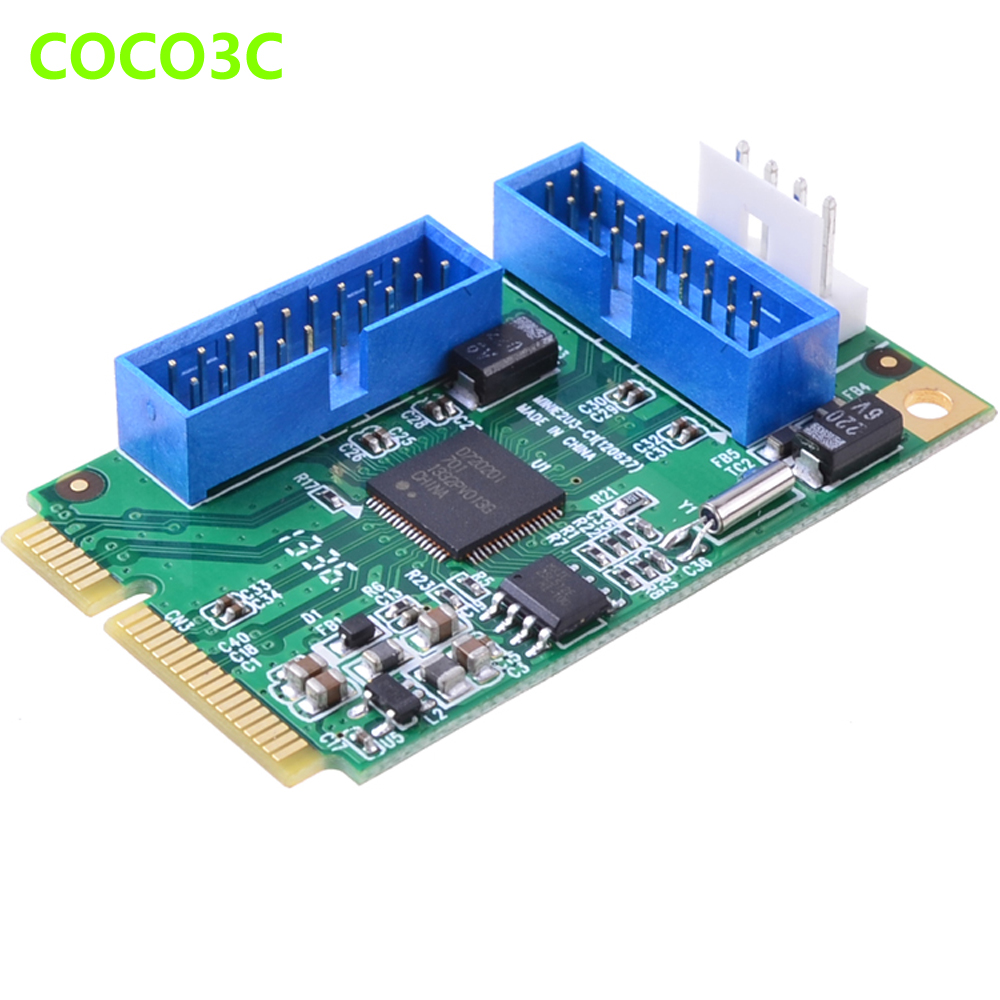 Mini PCIe to 4 ports USB 3.0 adapter for mini itx mini PCI express to 2-port 19 20 Pin USB 3.0 header with 2 19pin female cable wsfs hot 2 port usb 3 0 female to 20 pin header cable adapter connector for motherboard
