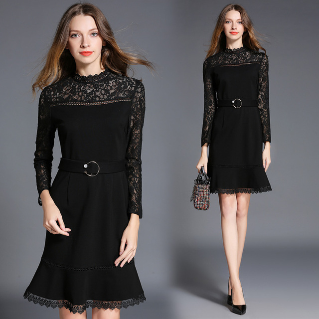 1a7154d733329 women's clothing lace patch sexy europe fashion hollow out A word tall  waist autumn new dress evening black fishtail dresses