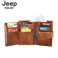 Genuine Leather Men Wallet Jeep Brand Fashion Coin Pocket Trifold Design Cow Leather Men Purse High