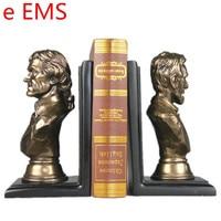 Гипса POTUS Bookends статуя Авраам Линкольн бюст Государственный учебных пособий смолы Книги по искусству и Craft украшения дома L2347