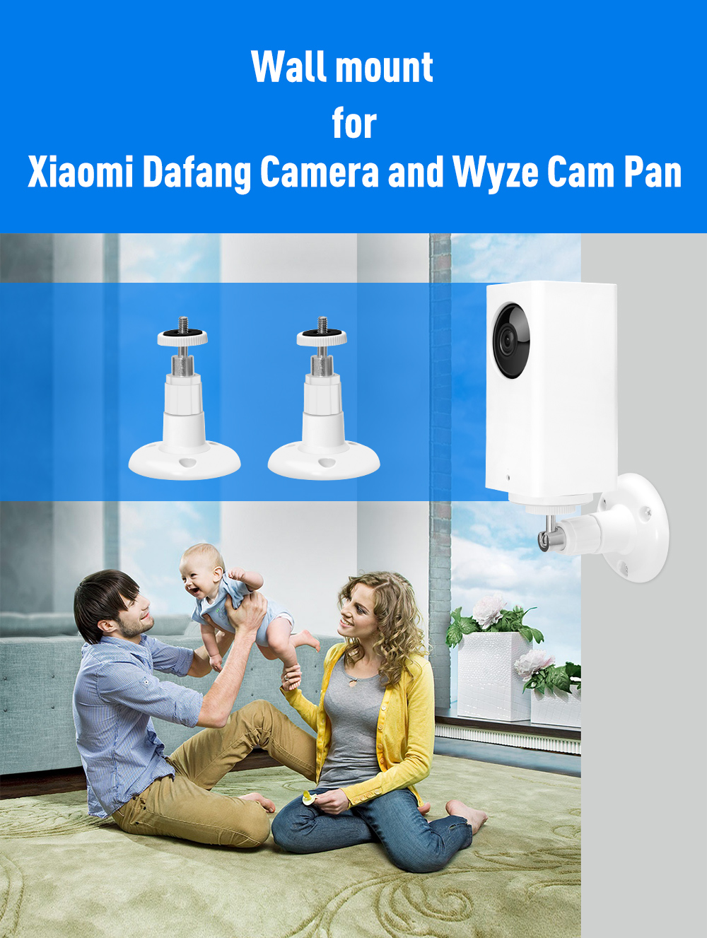For XiaoMi Dafang camera and Wyze Cam Pan wall mount bracket