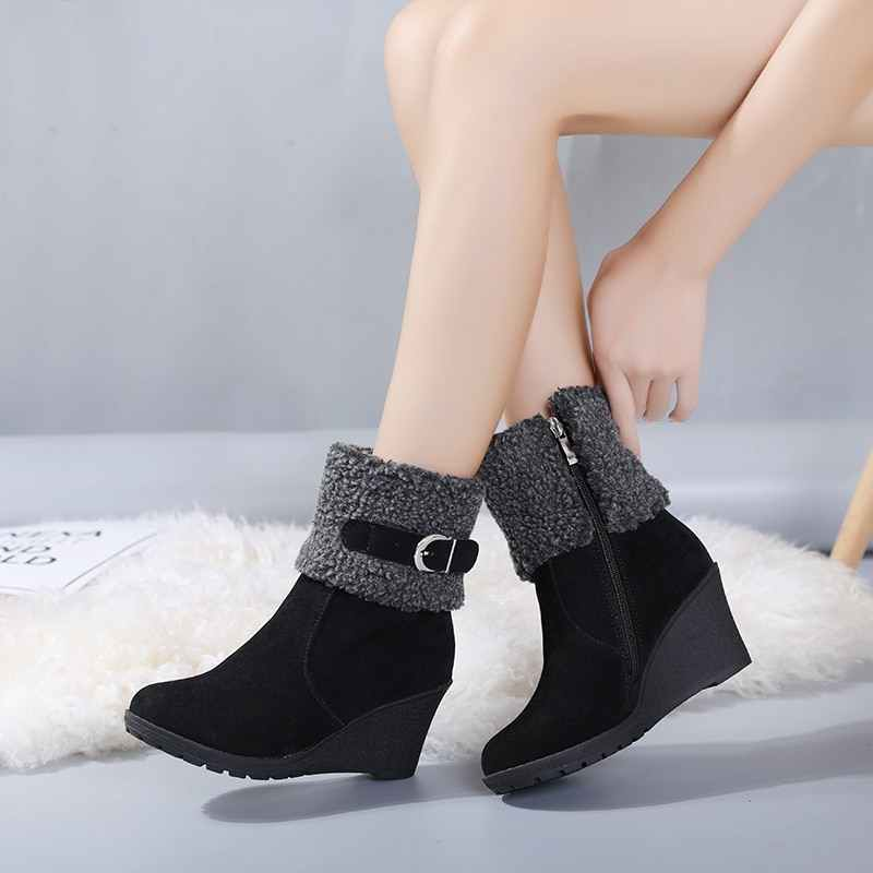REAVE KEDI Kış çizmeler Kürk Kadın şişe Kar toka Patik Ayak Bileği Sıcak Platformu Kama Femme Bayan botas mujer Ayakkabı S906a