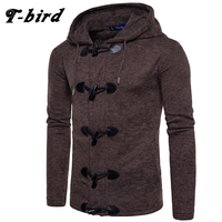 T Bird Sweater Men 2017 Brand Concise Horns Sweater Coat Cardigan Male Solid Color Slim Mens
