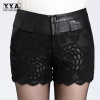New Brand Women Shorts Black Pu Leather Female Shorts Printing Leather Shorts Sexy Woman Embroidery Mini Short Lace Plus Size