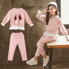 Clothing Kids Sets for Girls Suit Cartoon Sequins Rabbit Coat +Pant 2pcs Leisure Teenager Clothes For 3-12T