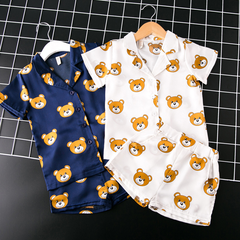 New Kids Girls Pajamas Sets cartoon bear Pyjamas Kids Pajama Infantil Sleepwear Home Clothing Baby boys silk Pajama 2-7T