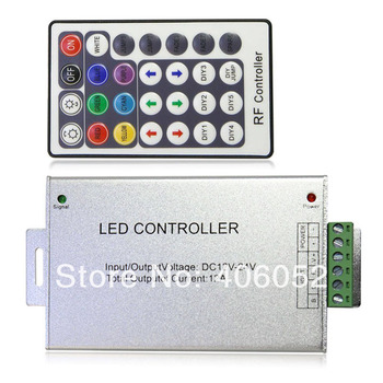 10set/lot Aluminum shell DC 12V 24V 28key led rf remote RGB controller for smd5050/3528 led light strip