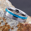 SHARDON 6mm/8mm Tungsten Carbide Turquoise Ring with Stain Finishing Turquoise Inlay Engagement Wedding Band
