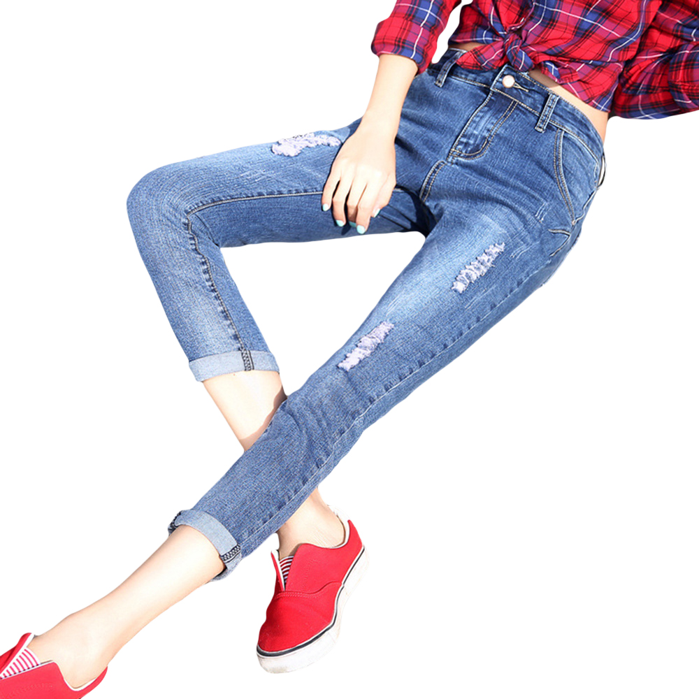 2016 New Fashion Women Ankle-length Denim Pants Casual Mid-waist Slim Fit Pencil Jeans Korean Hole Ripped Skinny Femme Jeans 2017 spring new women sweet floral embroidery pastoralism denim jeans pockets ankle length pants ladies casual trouse top118