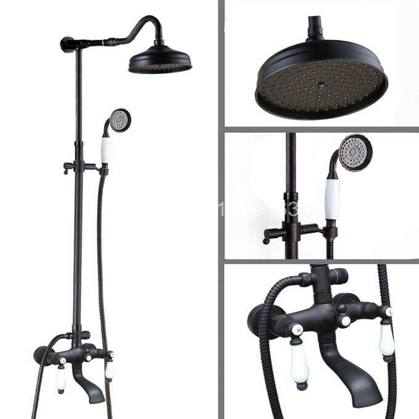 Dark Black Oil Rubbed Bronze Wall Mounted Bathroom Round Rain Shower Faucet Set W/ Handshower ahg644