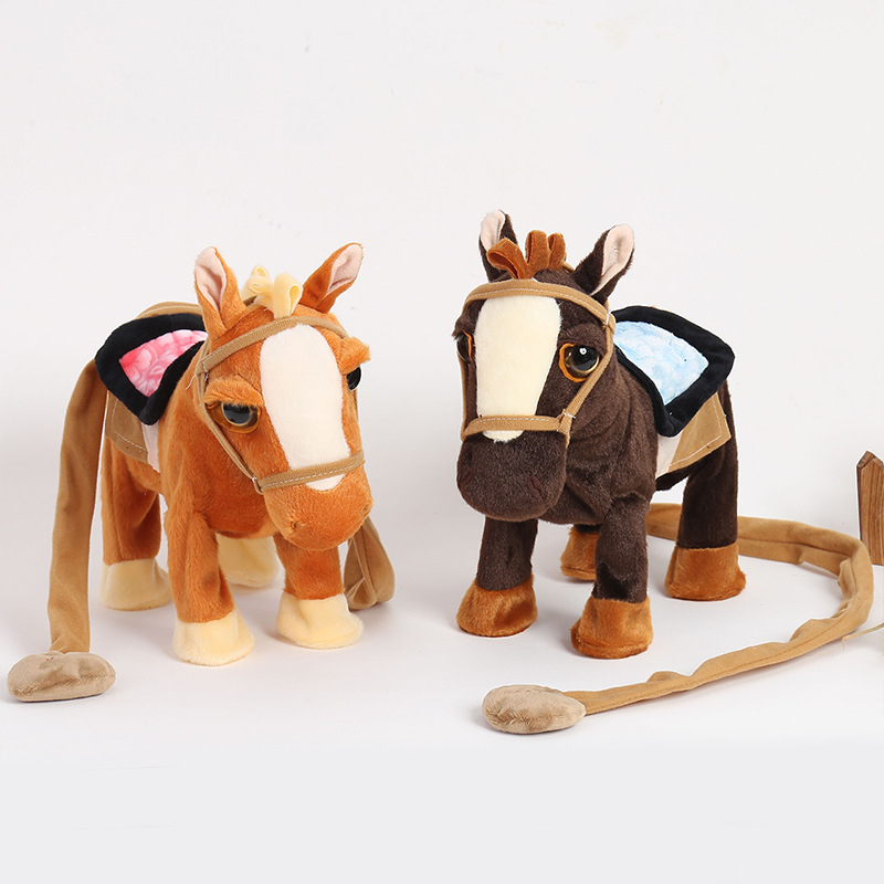 Robot Horse Electronic Horse Interactive Leash Plush Animal Pet Toy Walk Whinny Sing Song Music Toys For Children Birthday Gifts