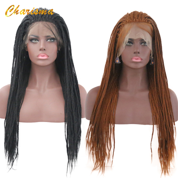 Charisma Synthetic Lace Front Braid Wigs Pure Color High Quality Wigs 24 Inch With Baby Hair Braided Wigs For Black Women
