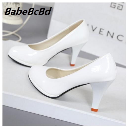 c1e31a025d49 2018 Solid color japanned leather platform round toe high heels shallow  mouth thin heels work women shoes bride wedding shoes