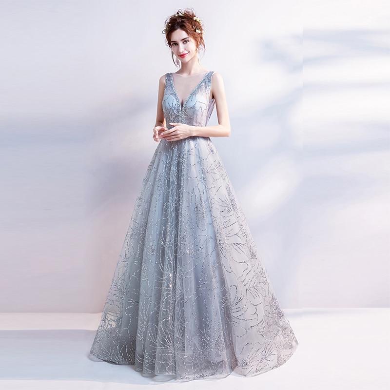 Major Beading Long   Prom     Dresses   Scoop Neck Gray Color Sleeveless vestido longo festa gala Party   Dress     Prom   Gowns 2019