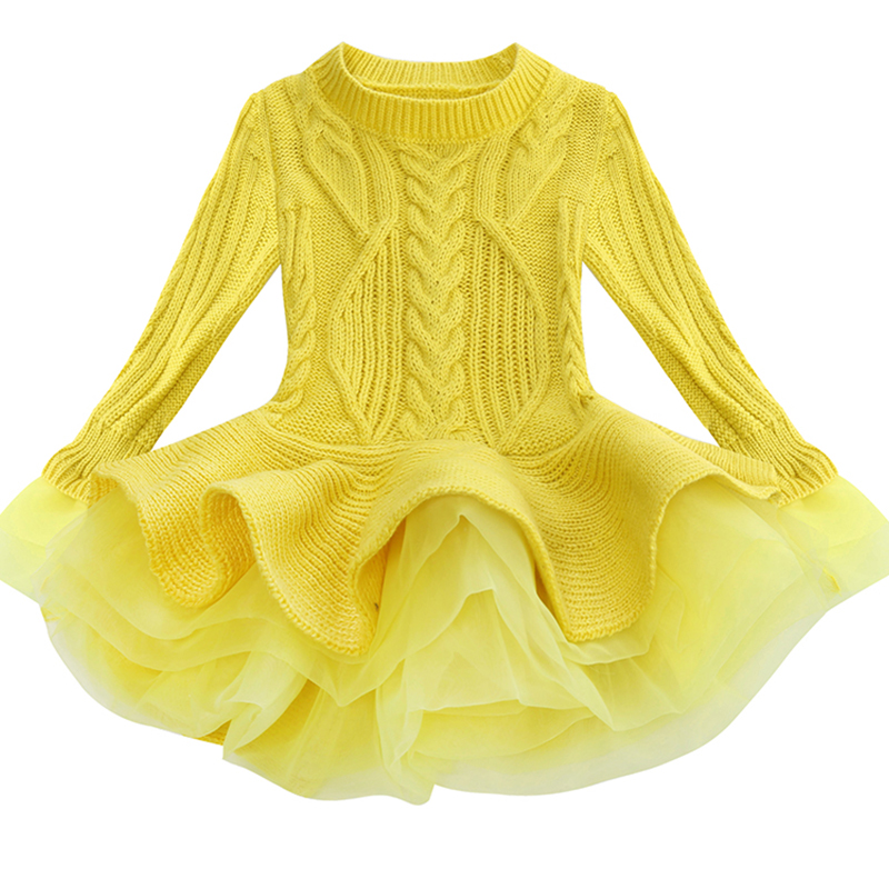 Korea Lace Knitted Sweaters Warm Dresses Winter Baby Wear Clothes Girls Clothing Sets Children Dress Child Clothing Kids Costume 2