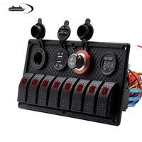 8 Gang Rocker Switch Panel Control Dual USB Charging Port Car Boat Cigarette Lighter Socket Voltmeter Auto Car Switch Panel