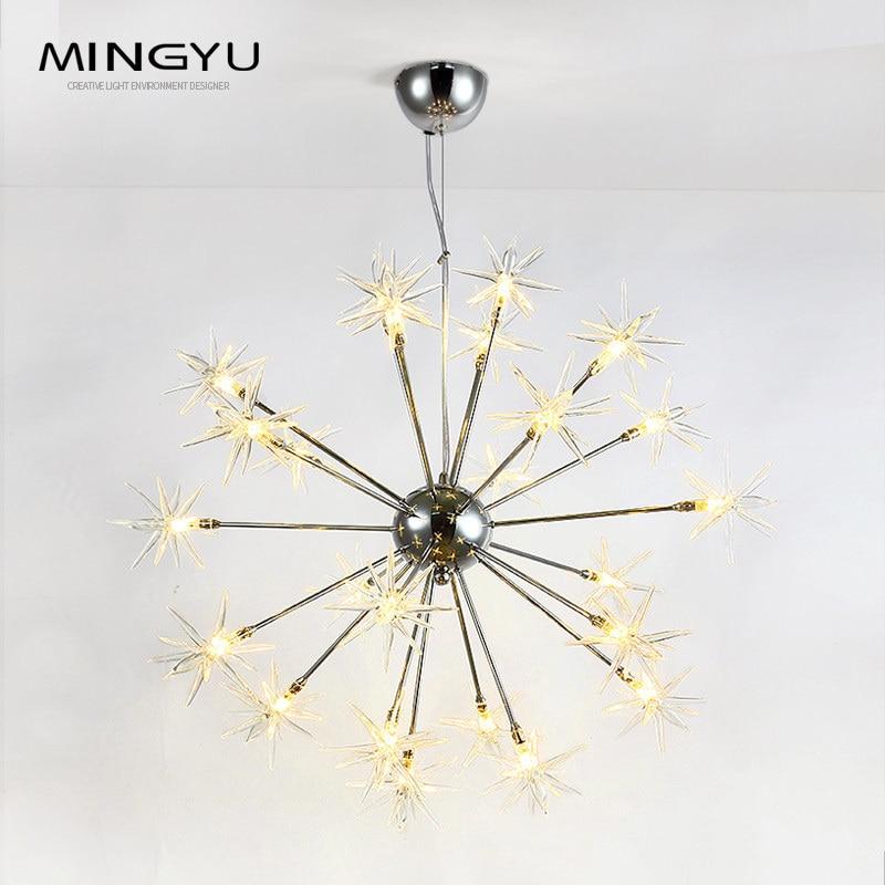 Современные Люстры лампа стеклянные звезды подвеска Рождество снег свет Отель Ресторан столовая гостиная освещение