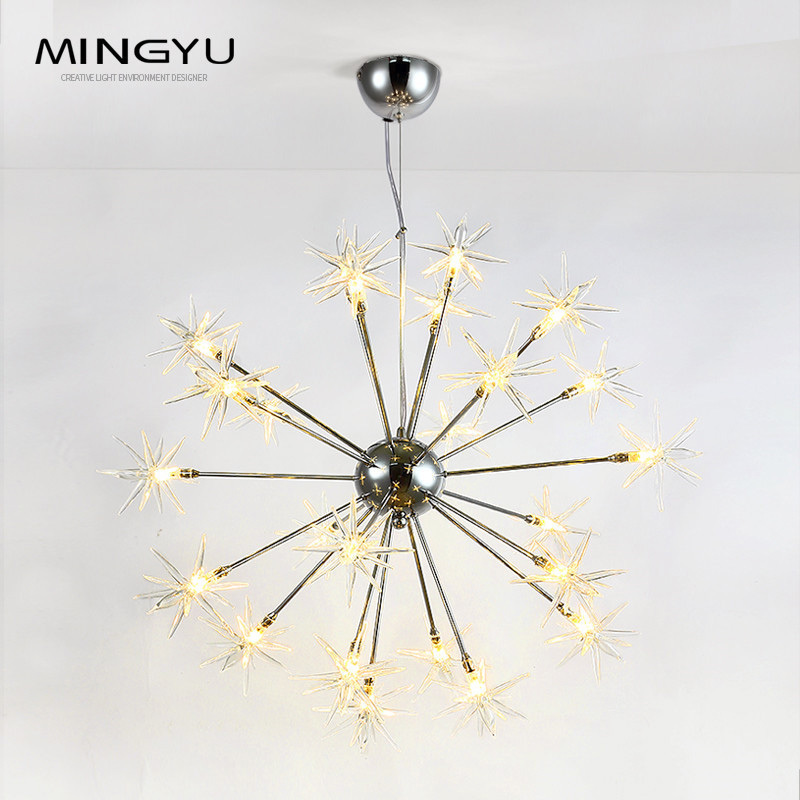 Lustres modernes lampe verre étoiles Suspension noël neige lumière hôtel Restaurant salle à manger salon éclairage
