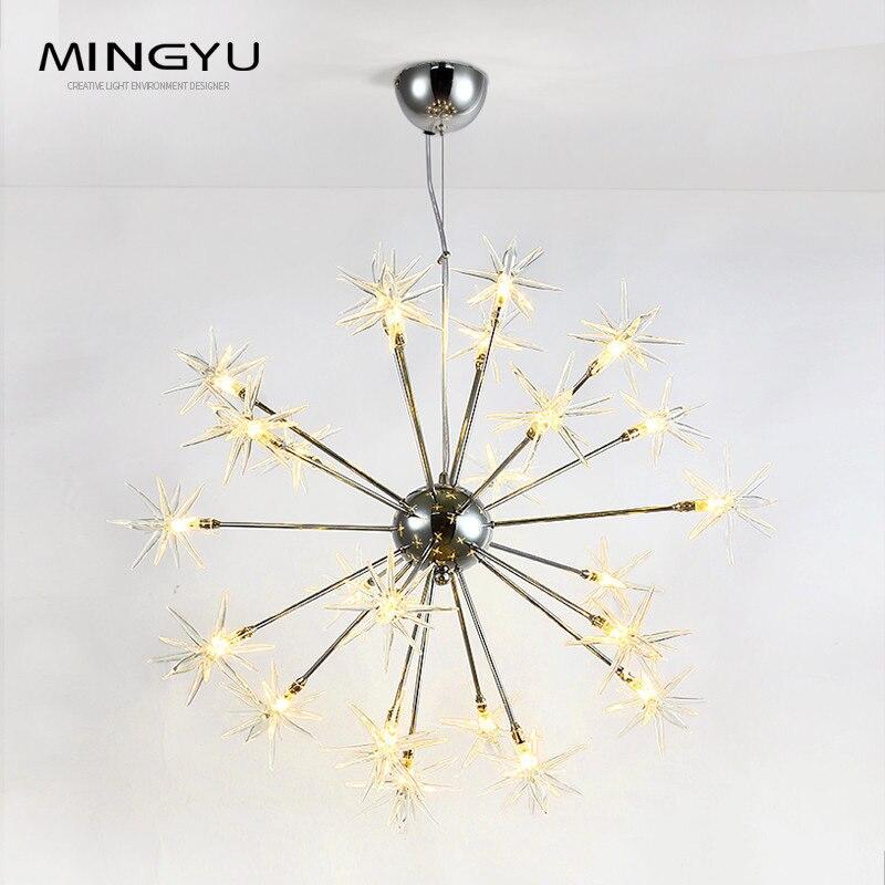 Modern Chandeliers Lamp Glass Stars Suspension Christmas Snow Light Hotel Restaurant Dinning Room Living Room Lighting