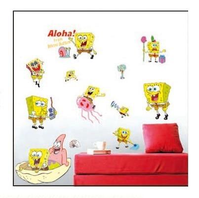 Pvc Removable Spongebob Wallpaper Wall Sticker For Kids Rooms