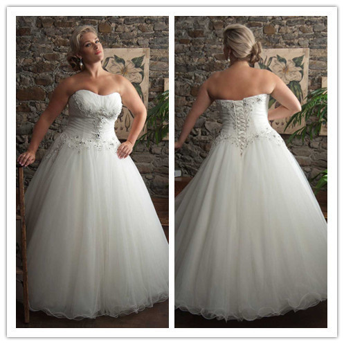 Plus Size Tulle Beaded Appliques Wedding Dresses Big Bridal Party ...