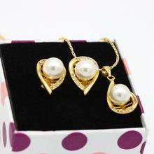 Жемчужная подвеска + серьги женский ювелирный набор желтое золото