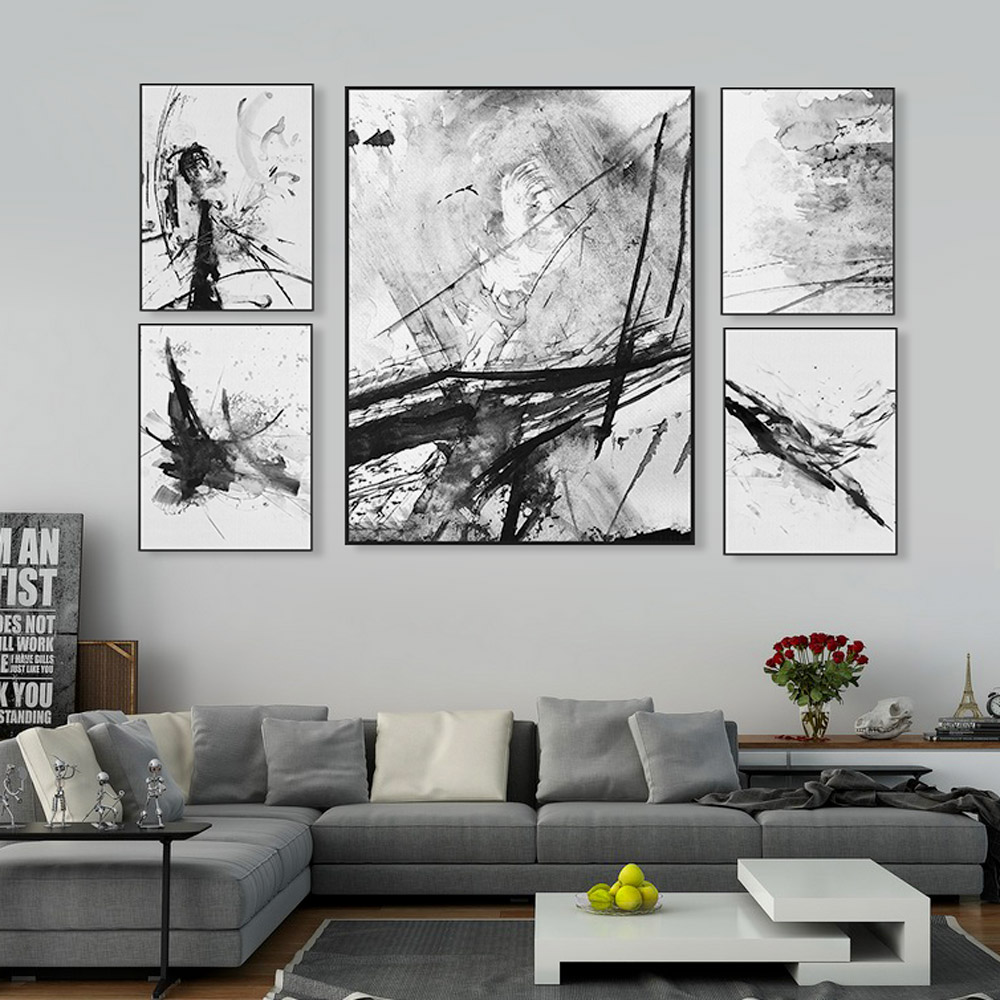 Modern Watercolor Abstract Ink Splash Big Canvas Art Poster Prints Wall  Pictures Retro Living Room Home