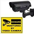 Flashing Light Dummy Security Camera Fake IR LED Surveillance Bullet CCTV Black