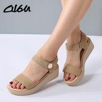 O16U Sandals Women Summer Suede Leather Strap Sandals Shoes Female Sandals Espadrilles Wedge Women Low Heels