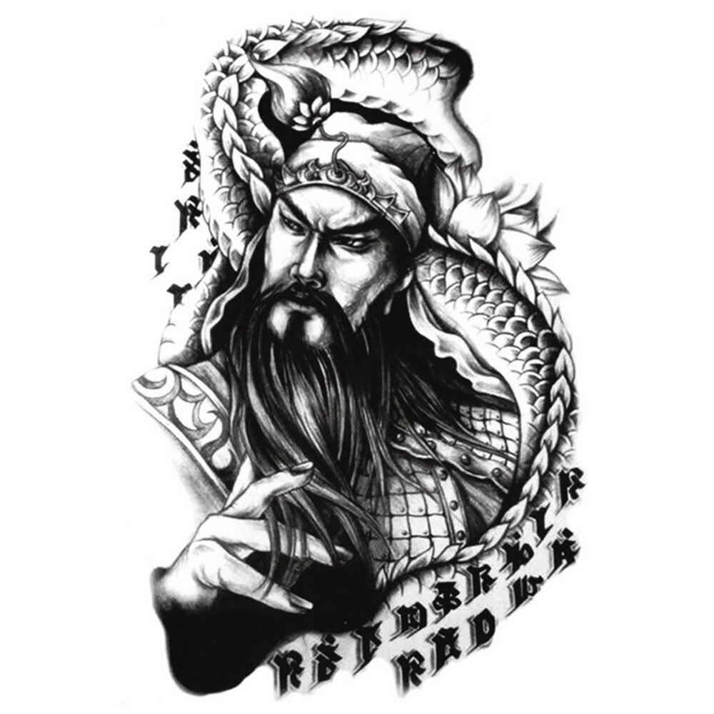 Yeeech Temporary Tattoos Sticker for Men Traditional Old Chinese Men Dragon Sanskrit Designs Fake Large Arm Leg Body Art Makeup